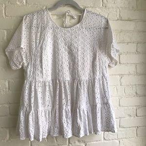 ASOS white shirt sleeve blouse / top medium 6